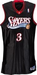 Basketball Collectibles:Uniforms, 2003 Allen Iverson Playoffs Worn & Signed Philadelphia 76ers Jersey & Trunks with MeiGray LOA - Photo Matched to 5/06 vs Pisto...