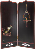 Furniture, A Japanese Stone Inlaid Two-Panel Screen. 73-3/8 x 56 inches (186.5 x 142.2 cm). ...