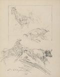 Paintings, Olaf Wieghorst (American, 1899-1988). Study of Cowboy Roping Steer, . Pencil on paper. (Sight) 11 x 8-3/4 inches (27.9 x...