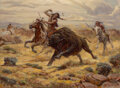 Paintings, Reynold Brown (American, 1917-1991). Bison Hunt, 1973. Oil on canvas. 22 x 30 inches (55.9 x 76.2 cm). Signed lower righ...