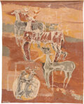 Paintings, Agnes Sims (American , 1910-1990). Story of the Elk. Mixed media on cloth. 75 x 60 inches (190.5 x 152.4 cm). Signed low...