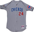 Baseball Collectibles:Uniforms, 2015 Dexter Fowler NLCS (Games One & Two) Worn Chicago Cubs Jersey with Ernie Banks & Postseason Patches - MLB Authentication....