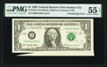 Error Notes:Foldovers, Printed Fold Error Fr. 1925-J $1 1999 Federal Reserve Note. PMG About Uncirculated 55 EPQ.. ...