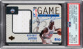 Basketball Cards:Singles (1980-Now), 1997 Upper Deck Game Jersey Michael Jordan (Autograph) #GJ13S PSA NM 7, Auto 8 - #'d 8/23....