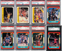 1986 Fleer Basketball Near Set (127/132) Plus Sticker Set (11)