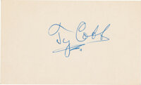 1940's Ty Cobb Signed Index Card