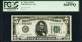 Small Size:Federal Reserve Notes, Fancy Serial Number 00666666 Fr. 1950-J $5 1928 Federal Reserve Note. PCGS Gem New 66PPQ.. ...