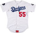 Baseball Collectibles:Uniforms, 1993 Orel Hershiser Game Worn Los Angeles Dodgers Jersey with Roy Campanella/Don Drysdale & Tim Crews Memorial Patches....