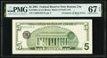 Error Notes:Third Printing on Reverse, Third Printing on Back Error Fr. 1988-J $5 2001 Federal Reserve Note. PMG Superb Gem Unc 67 EPQ.. ...
