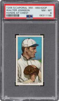 1909-11 T206 Sweet Caporal 350-460/42OP Walter Johnson (Hands at Chest) PSA NM/MT 8 - Pop One, None for