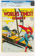 Golden Age (1938-1955):Superhero, World's Finest Comics #12 (DC, 1943) CGC FN/VF 7.0 Off-white pages....