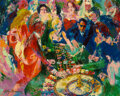 Paintings, LeRoy Neiman (American, 1921-2012). Roulette Table at Vegas, 1970. Oil on Masonite . 48 x 60 inches (121.9 x 152.4 cm). ...