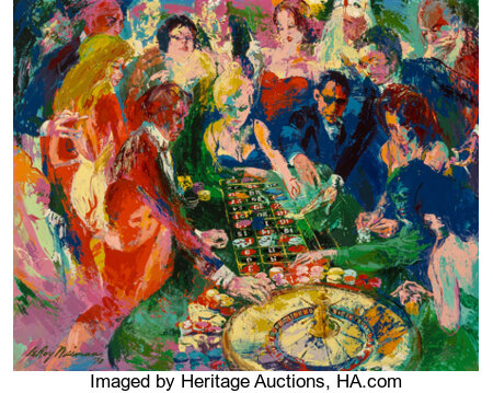 LeRoy Neiman (American, 1921-2012) Roulette Table at Vegas, 1970 Oil on Masonite  48 x 60 inches (121.9 x 152.4 cm) ...