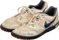 Football Collectibles:Others, 1991 Thurman Thomas Game Worn & Signed Buffalo Bills Turf Shoes with Equipment Manager Provenance....