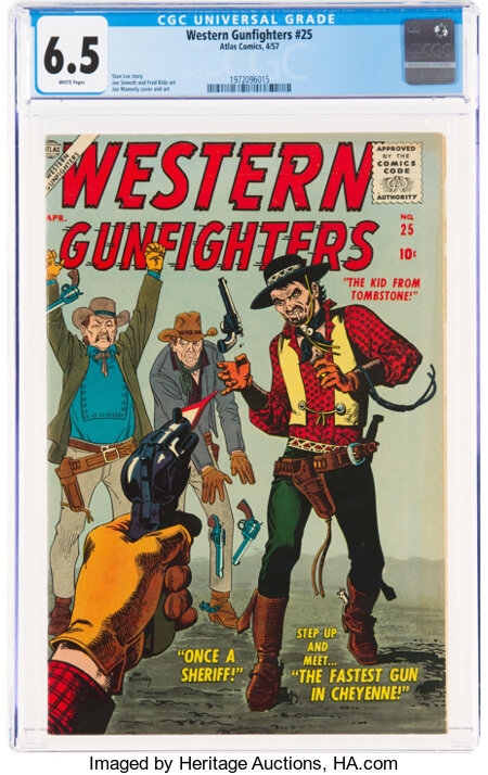 Western Gunfighters #25 (Atlas, 1957) CGC FN+ 6.5 White pages....