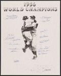 Autographs:Others, 1956 World Championship New York Yankees Multi-Signed Lithograph. ...