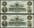 Obsoletes By State:Rhode Island, Providence, RI- Bank of America $1 18__, Two Remainders Choice Crisp Uncirculated.. ... (Total: 2 notes)