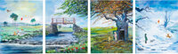 """Winnie the Pooh """"The Four Seasons"""" Giclée with Hand Embellishing by Peter and Harrison Ellenshaw AP 3/4..."""