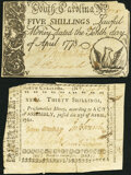 Colonial Notes:North Carolina, North Carolina April 23, 1761 30s VF;. South Carolina April 10, 1778 5s VF.. ... (Total: 2 notes)
