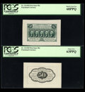 Fractional Currency:First Issue, Fr. 1313SP 50¢ First Issue Wide Margin Pair PCGS Superb Gem New 68PPQ Face and 63PPQ Back.... (Total: 2 notes)