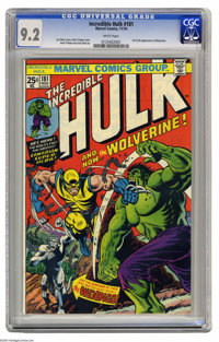 The Incredible Hulk #181 (Marvel, 1974) CGC NM- 9.2 White pages. This is the now-famous issue that features the first fu...