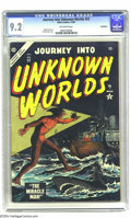 Golden Age (1938-1955):Science Fiction, Journey Into Unknown Worlds #32 Bethlehem pedigree (Atlas, 1954)CGC NM- 9.2 Off-white pages. The trawler's rockin' as a mon...