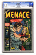 Golden Age (1938-1955):Horror, Menace #7 Bethlehem pedigree (Atlas, 1953) CGC FN/VF 7.0 Off-whitepages. Frankenstein story. Russ Heath and Joe Maneely art...