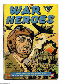 """War Heroes #5 (Dell, 1943) Condition: GD/VG. Major General George S. Patton, Jr. is the cover star. """"Thrilling Hero..."""