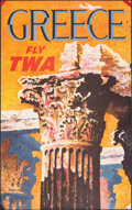 """Movie Posters:Miscellaneous, Greece: Fly TWA (Trans World Airlines, 1960s). Rolled, Fine+. Travel Poster (25"""" X 39.75"""") David Klein Artwork. Miscellaneou..."""