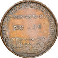 1843 Cleveland, Ohio, A. Loomis, Low-160, HT-379, W-OH-040-25a, R.8, MS63 Brown NGC. Copper, plain edge. Two arrows belo...