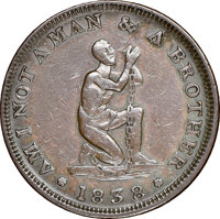 1838 Am I Not a Man & a Brother, Low-54A, HT-82, W-11-725a, High R.7, AU53 NGC. Copper, plain edge. This is the Howl...