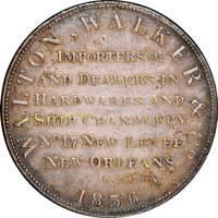 1836 New Orleans, Louisiana, Walton, Walker & Co., Low-106B, HT-129B, W-LA-260-10b, R.7--Cleaned--NGC Details. AU. S...