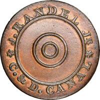 (1825) New Castle County, Delaware, J. Randel, Jr., R. E-DEL-2, R.8, MS62 Brown NGC. Copper, plain edge. An extraordinar...