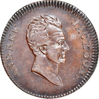(1832) Andrew Jackson, Low-1B, HT-3, W-09-20a, R.6, AU58 NGC. Copper, reeded edge. The Aged Head obverse derives its nam...