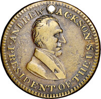 (1834) Andrew Jackson, Low-2, HT-4, W-09-30b, R.8, VF30 NGC. Brass, plain edge. The finest known example grades VF30 and...