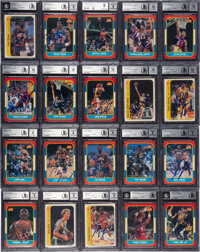 1986 Fleer Basketball Complete Signed Set of 131 Cards & 11 Stickers - Beckett Authentic