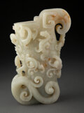 Carvings, A Chinese Carved Jade Vessel. 8-1/2 x 4 x 6 inches (21.6 x 10.2 x 15.2 cm). ...