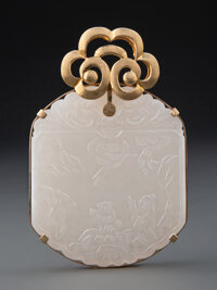 A Chinese White Jade Pendant, Qing Dynasty 2-3/4 x 1-3/4 inches (7.0 x 4.4 cm)