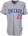 Baseball Collectibles:Uniforms, 2015 Addison Russell NLCS Game Worn Chicago Cubs Jersey with Ernie Banks & Postseason Patches....