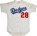 Baseball Collectibles:Uniforms, 1984 Pedro Guerrero Game Worn Los Angeles Dodgers Jersey with Olympic Baseball Patch!...