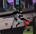 Animation Art:Production Cel, The New Batman Adventures Batman and Robin Production Cel with Master Background and Animation Drawing (Warner Brother... (Total: 2 )