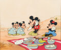 Animation Art:Production Cel, Mickey's Rival Production Cel Setup with Master Background (Walt Disney, 1936)....