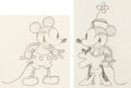 Animation Art:Production Drawing, Steamboat Willie Mickey and Minnie Mouse Animation Drawings by Ub Iwerks Group of 2 (Walt Disney, 1928).... (Total: 2 Original Art)
