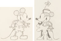 Steamboat Willie Mickey and Minnie Mouse Animation Drawings by Ub Iwerks Group of 2 (Walt Disney, 1928).... (Total: 2 Or...