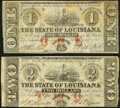 Obsoletes By State:Louisiana, Baton Rouge, LA- State of Louisiana $1; $2 Feb. 24, 1862 Cr. 3; Cr. 2 Extremely Fine; Very Fine.. ... (Total: 2 notes)