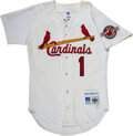 Baseball Collectibles:Uniforms, 1992 Ozzie Smith Signed St. Louis Cardinals Jersey....