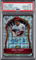 Baseball Cards:Singles (1970-Now), 2011 Topps Finest XFractor Mike Trout Autograph #84 PSA Gem Mint 10 - Pop Two! ...