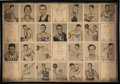 Basketball Cards:Sets, 1948 Bowman Basketball Printers Production Near Sheet (28 Cards) With Mikan. ...