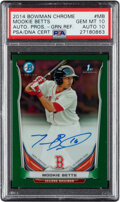 Baseball Cards:Singles (1970-Now), 2014 Bowman Chrome Prospect Autograph Green Refractor Mookie Betts #BCAP-MB PSA Gem Mint 10, Auto 10 - Serial Numbered 20/75....