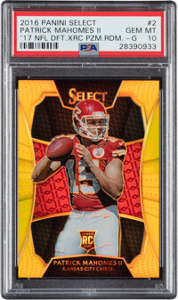 2016 Panini Select '17 NFL Draft XRC Patrick Mahomes II Gold Prizm Redemption #2 PSA Gem Mint 10 - Pop One!